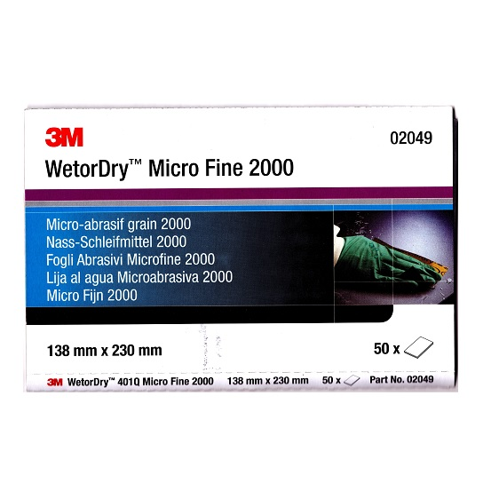 3M 02049 P2000 Wet & Dry Paper Pk 50 Sheets 138mm x 230mm