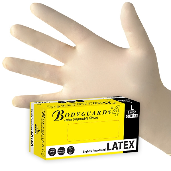 Bodyguards Latex Gloves Powered Large (Bx100) GL8183