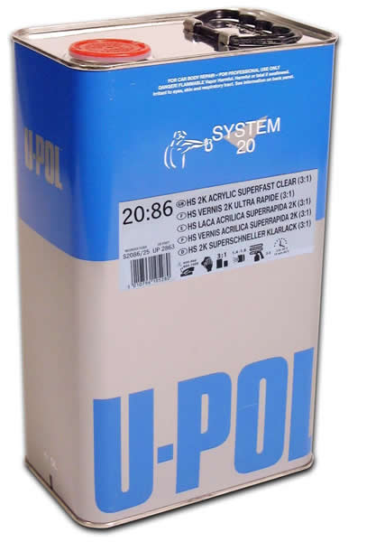 UPol Super Fast 2k Clearcoat Kit 7.5L(5L 2086+2.5L 2030 Hard)