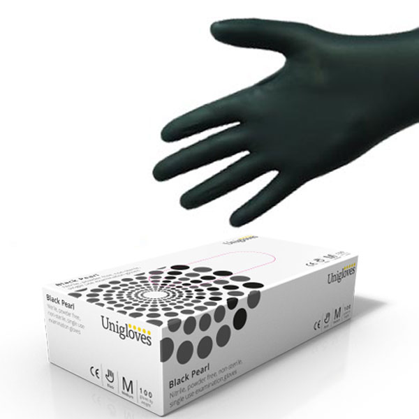 Uni-Gloves GP0032 Black Nitrile Gloves-Box 100 Small Powder Free